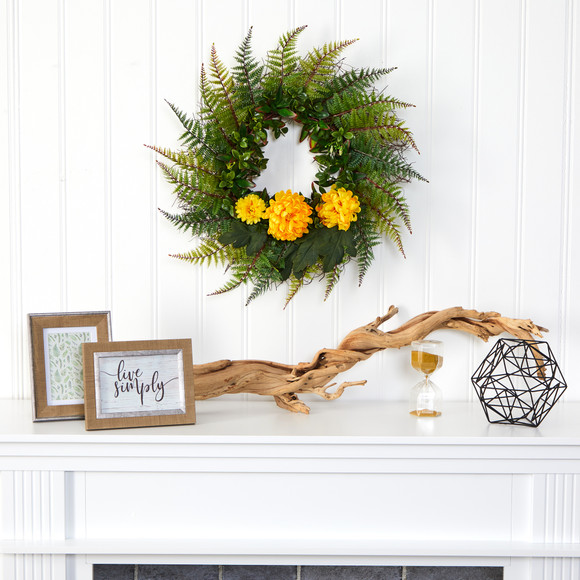 23 Assorted Fern and Chrysanthemum Artificial Wreath - SKU #W1027 - 2