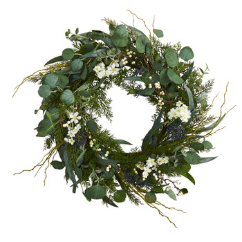 24 Eucalyptus Dancing Daisy and Mixed Greens Artificial Wreath - SKU #W1028