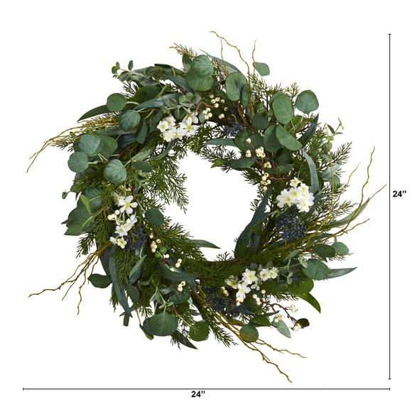24 Eucalyptus Dancing Daisy and Mixed Greens Artificial Wreath - SKU #W1028 - 1