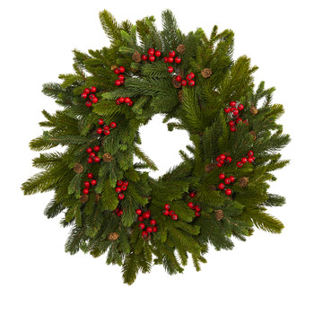 22 Pine Pinecone and Berry Artificial Wreath - SKU #W1029