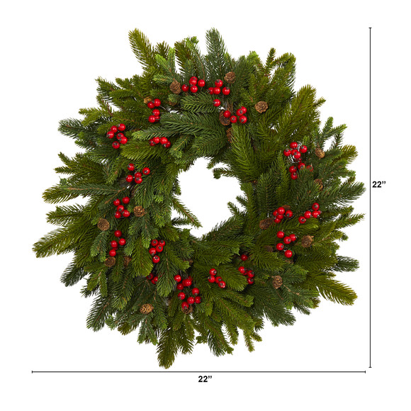 22 Pine Pinecone and Berry Artificial Wreath - SKU #W1029 - 1