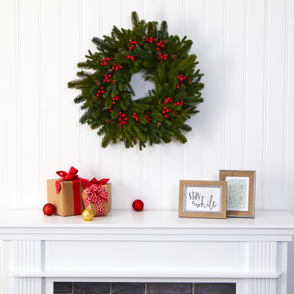 22 Pine Pinecone and Berry Artificial Wreath - SKU #W1029 - 2