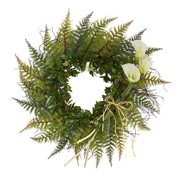 23 Assorted Fern and Calla Lily Artificial Wreath - SKU #W1030 - 6