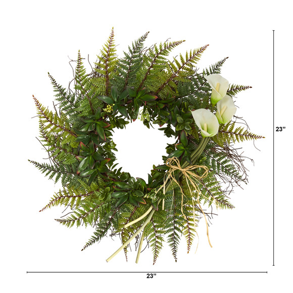 23 Assorted Fern and Calla Lily Artificial Wreath - SKU #W1030 - 7