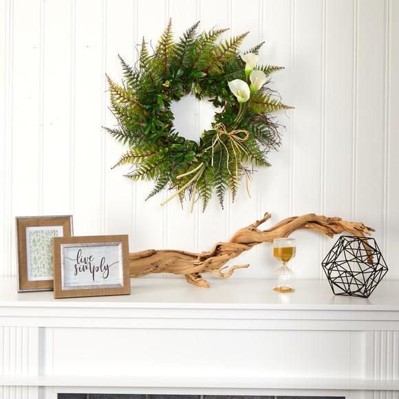 23 Assorted Fern and Calla Lily Artificial Wreath - SKU #W1030 - 8