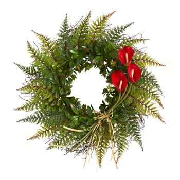 23 Assorted Fern and Calla Lily Artificial Wreath - SKU #W1030
