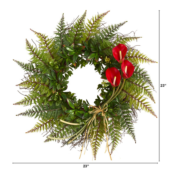 23 Assorted Fern and Calla Lily Artificial Wreath - SKU #W1030 - 1
