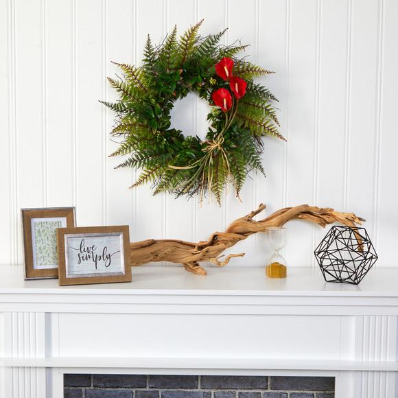 23 Assorted Fern and Calla Lily Artificial Wreath - SKU #W1030 - 2