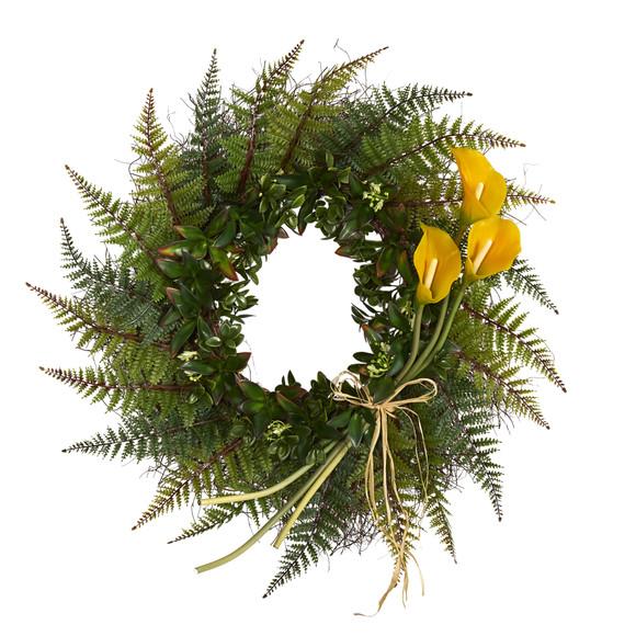 23 Assorted Fern and Calla Lily Artificial Wreath - SKU #W1030 - 3