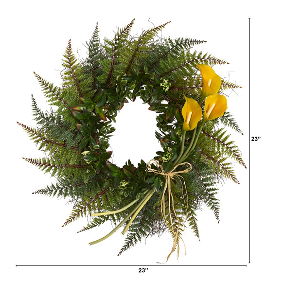 23 Assorted Fern and Calla Lily Artificial Wreath - SKU #W1030 - 4