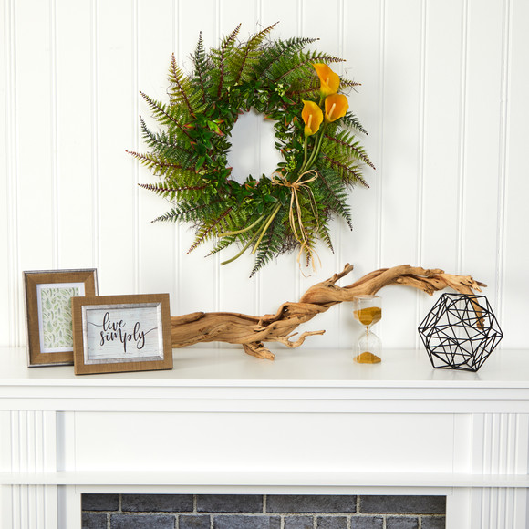 23 Assorted Fern and Calla Lily Artificial Wreath - SKU #W1030 - 5