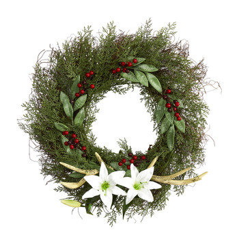 20 Cedar Antlers Lily and Ruscus with Berries Artificial Wreath - SKU #W1031