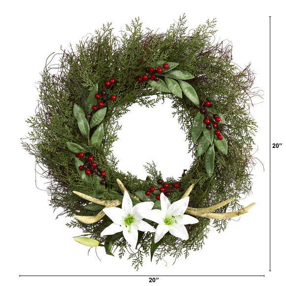 20 Cedar Antlers Lily and Ruscus with Berries Artificial Wreath - SKU #W1031 - 1
