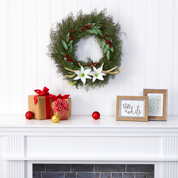 20 Cedar Antlers Lily and Ruscus with Berries Artificial Wreath - SKU #W1031 - 2