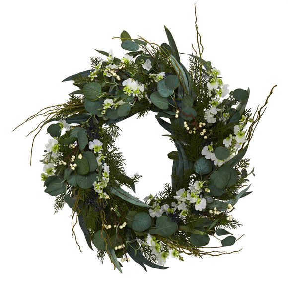 24 Eucalyptus Dancing Lady Orchid and Mixed Greens Artificial Wreath - SKU #W1032 - 6