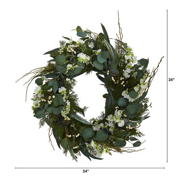24 Eucalyptus Dancing Lady Orchid and Mixed Greens Artificial Wreath - SKU #W1032 - 7