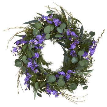 24 Eucalyptus Dancing Lady Orchid and Mixed Greens Artificial Wreath - SKU #W1032