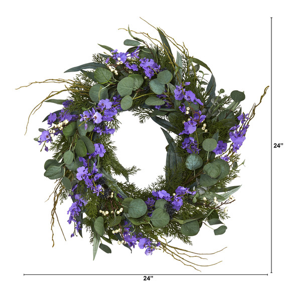 24 Eucalyptus Dancing Lady Orchid and Mixed Greens Artificial Wreath - SKU #W1032 - 1