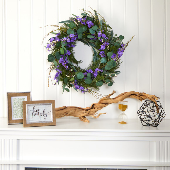 24 Eucalyptus Dancing Lady Orchid and Mixed Greens Artificial Wreath - SKU #W1032 - 2