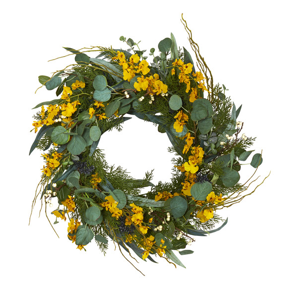 24 Eucalyptus Dancing Lady Orchid and Mixed Greens Artificial Wreath - SKU #W1032 - 3