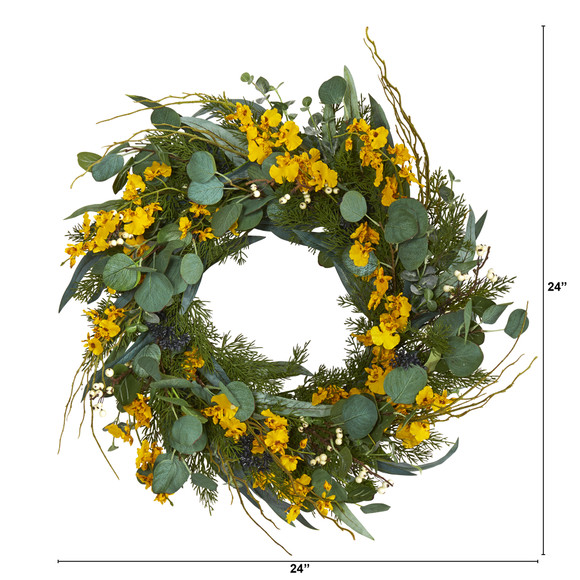 24 Eucalyptus Dancing Lady Orchid and Mixed Greens Artificial Wreath - SKU #W1032 - 4