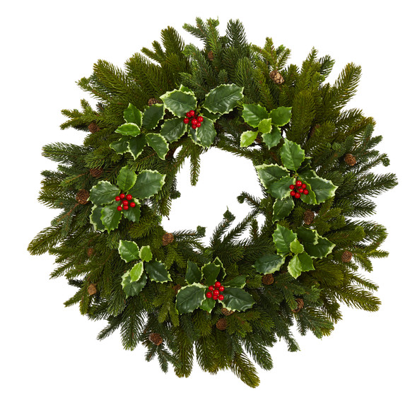 22 Pine Pinecone and Variegated Holly Leaf Artificial Wreath - SKU #W1033