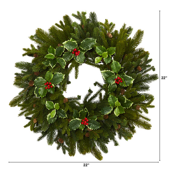 22 Pine Pinecone and Variegated Holly Leaf Artificial Wreath - SKU #W1033 - 1