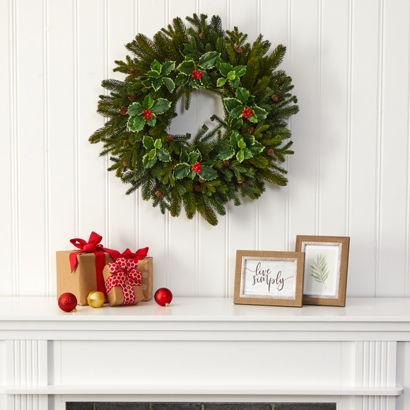 22 Pine Pinecone and Variegated Holly Leaf Artificial Wreath - SKU #W1033 - 2