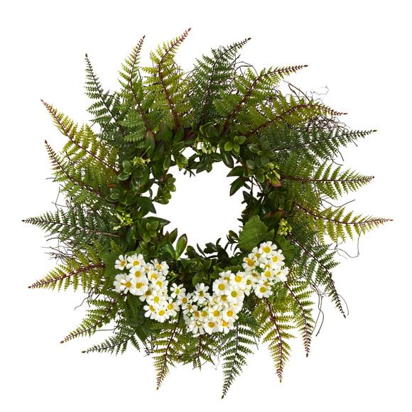 23 Assorted Fern and Daisy Artificial Wreath - SKU #W1035 - 4