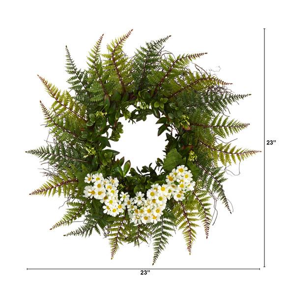 23 Assorted Fern and Daisy Artificial Wreath - SKU #W1035 - 5