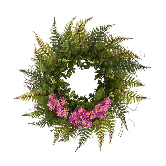 23 Assorted Fern and Daisy Artificial Wreath - SKU #W1035 - 6