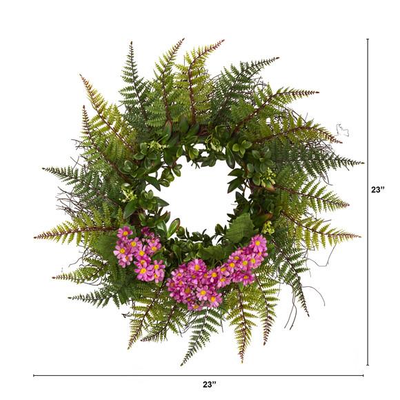 23 Assorted Fern and Daisy Artificial Wreath - SKU #W1035 - 7