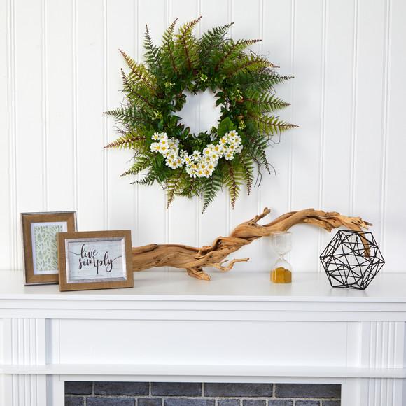 23 Assorted Fern and Daisy Artificial Wreath - SKU #W1035