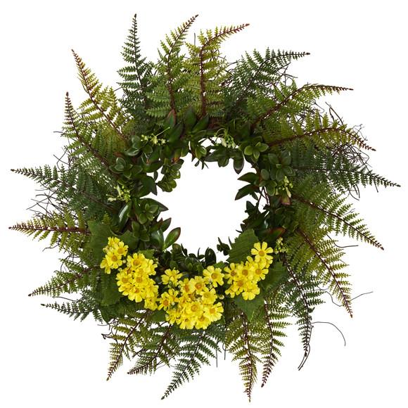 23 Assorted Fern and Daisy Artificial Wreath - SKU #W1035 - 1