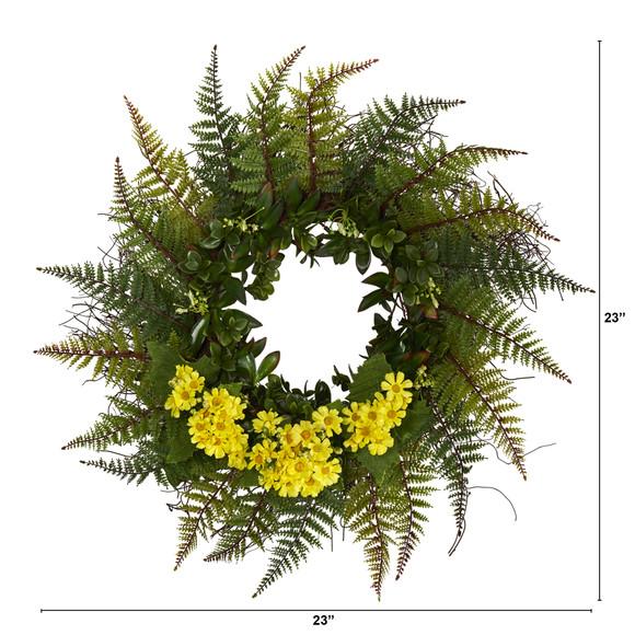 23 Assorted Fern and Daisy Artificial Wreath - SKU #W1035 - 2