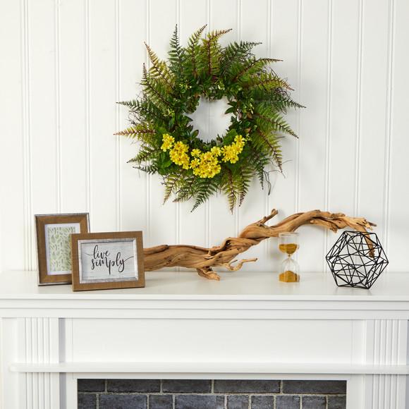 23 Assorted Fern and Daisy Artificial Wreath - SKU #W1035 - 3