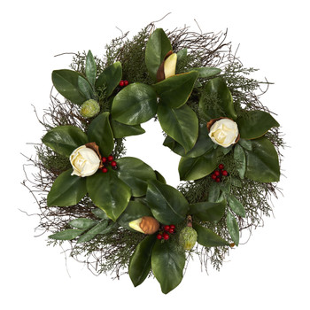 20 Cedar Ruscus and Magnolia with Berries Artificial Wreath - SKU #W1036