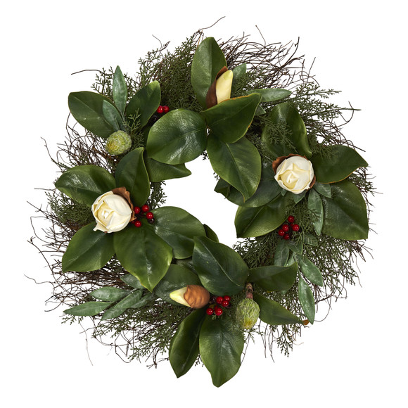 20 Cedar Ruscus and Magnolia with Berries Artificial Wreath - SKU #W1036