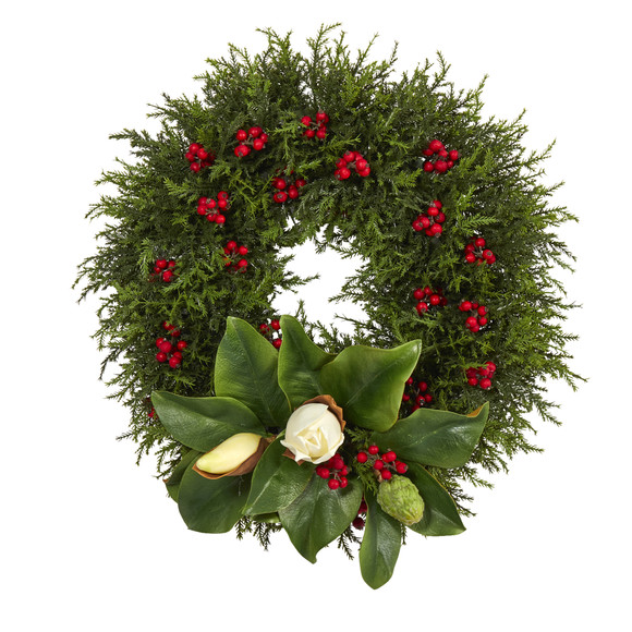 20 Cedar Berries and Magnolia Artificial Christmas Wreath - SKU #W1037