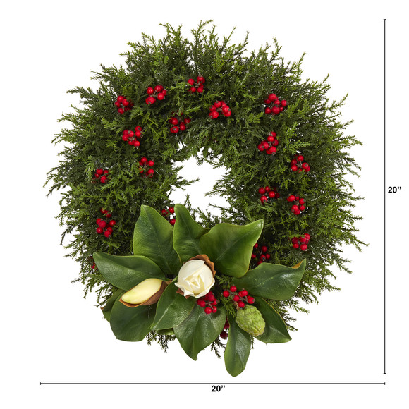 20 Cedar Berries and Magnolia Artificial Christmas Wreath - SKU #W1037 - 1