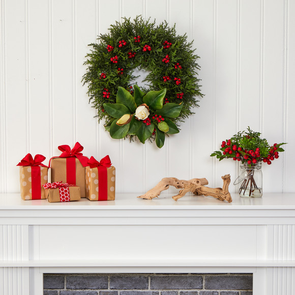 20 Cedar Berries and Magnolia Artificial Christmas Wreath - SKU #W1037 - 2