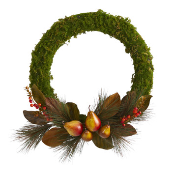 22 Pear Magnolia and Moss Artificial Wreath - SKU #W1038