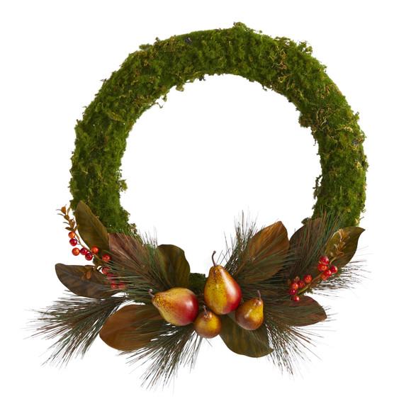 22 Pear Magnolia and Moss Artificial Wreath - SKU #W1038