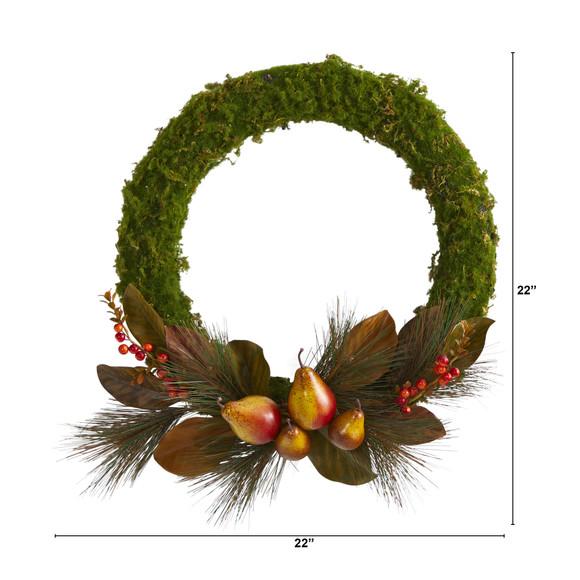 22 Pear Magnolia and Moss Artificial Wreath - SKU #W1038 - 1