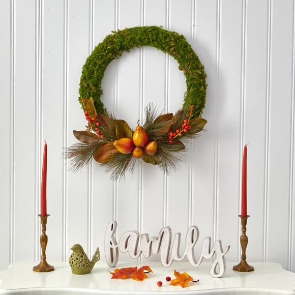 22 Pear Magnolia and Moss Artificial Wreath - SKU #W1038 - 2