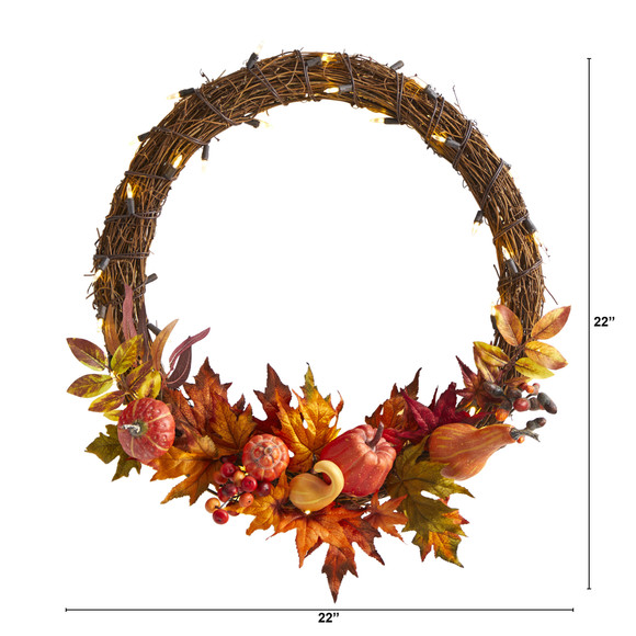 22 Pumpkin and Maple Artificial Autumn Wreath with 50 Warm White LED Lights - SKU #W1039 - 1