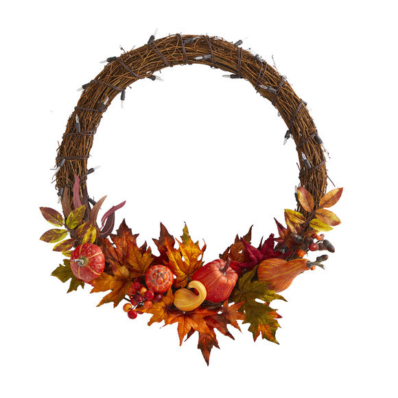 22 Pumpkin and Maple Artificial Autumn Wreath with 50 Warm White LED Lights - SKU #W1039 - 2