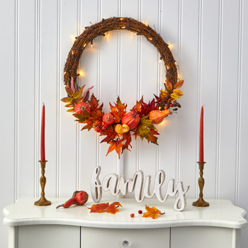22 Pumpkin and Maple Artificial Autumn Wreath with 50 Warm White LED Lights - SKU #W1039