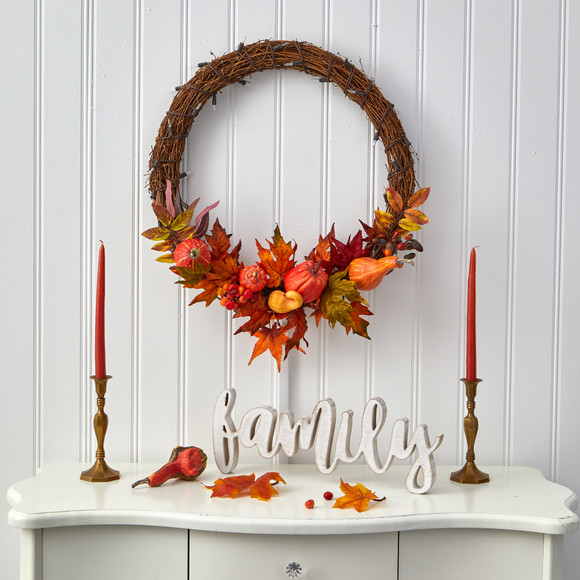22 Pumpkin and Maple Artificial Autumn Wreath with 50 Warm White LED Lights - SKU #W1039 - 4
