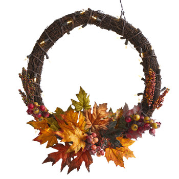 21 Maple Leaf and Berries Artificial Wreath with 50 Warm White LED Lights - SKU #W1040